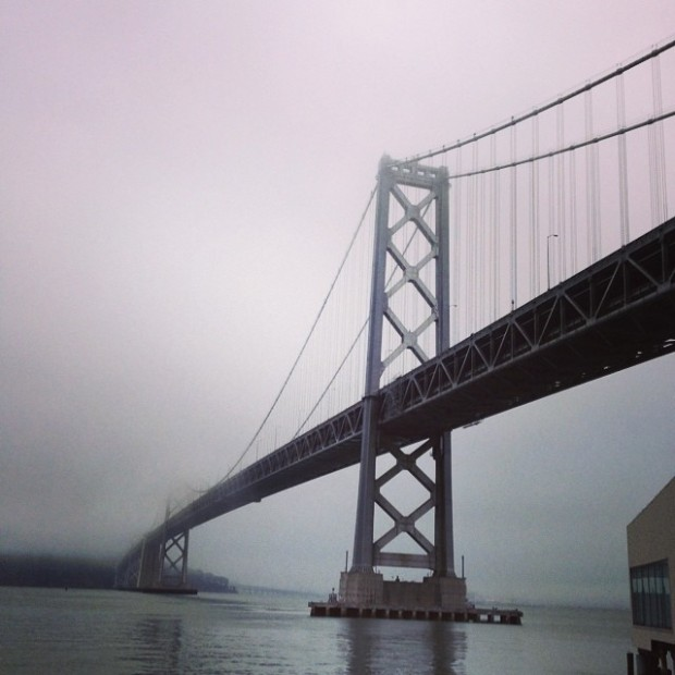 Fogged in Bay Bridge